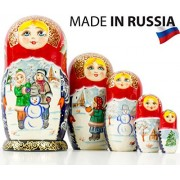 """Russian Nesting Doll - """"Village Scenes"""" - Hand Painted in Russia - 5 color/size variations - Traditional Matryoshka Babushka (6.75``(5 dolls in 1), Scene J)"""