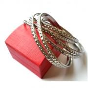 Thiosa - Ezüst színű többrészes divatos bizsu karkötő