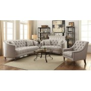 2 pc Avalon collection contemporary style stone grey linen like fabric upholstered sofa and love seat with tufted accents