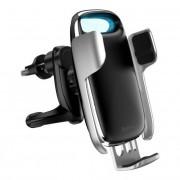 Baseus Tejút 15W vezeték nélküli Qi autós töltő telefon automatikus tartó ezüst (WXHW02-0S)