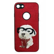 Protectie Spate Lemontti Embroidery Red Puppy LECIPH7M2 pentru Apple iPhone 7, iPhone 8, iPhone SE 2020