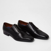 River Island Mens Blacks square toe leather derby shoes (Size 7)