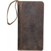 Kan Kan Brown Premium Quality Leather Travel Organizer Wallet For Men and Women(Brown)