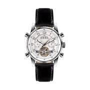 【80%OFF】230-H Air Professional Stahl silber Leder ラウンド ウォッチ ブラック/ホワイト ファッション > 腕時計~~メンズ 腕時計