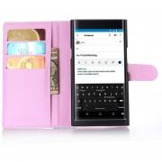 De grano lleno de cuero de la carpeta del tirón del teléfono cubierta de la caja para BlackBerry priv Rosa