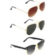 Zyaden Aviator, Aviator, Clubmaster Sunglasses(Brown, Black, Black)