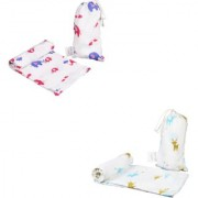 Polka Tots 100 Organic Cotton Baby Muslin Cloth Swaddle Wrap Blanket for new born Pack Of 2 Rendeer /Elephant