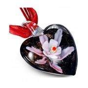 Rött Smycke med Hjärtformat Svart Hänge i Glas med Lila Blomma