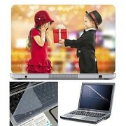 FineArts Laptop Skin Boy Girl Gift With Screen Guard and Key Protector - Size 15.6 inch