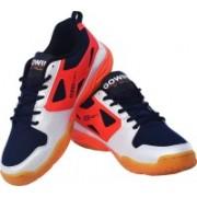 Gowin By Triumph Staunch White/Blue/Orange Badminton Shoes(White, Blue, Orange)