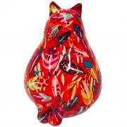 Pomme Pidou Spaarpot dikke kat/poes rood met veertjes 17 cm