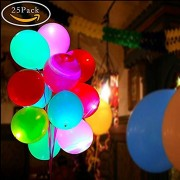ForeDecor 12 Inches Set Of 25 Led Balloons Multicolor