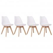 Happy Garden Lot de 4 chaises scandinaves MARIA blanches avec coussin
