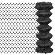 vidaXL Плетена оградна мрежа, стомана, 25x1 м, сива