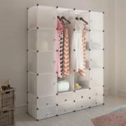 vidaXL Модулен гардероб с 18 отделения, бял, 37 x 146 x 180,5 см