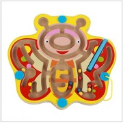 FunnyGoo Mini Magnetic Pen Driving Wooden Bead Maze Magnet Labyrinth for Children 3 Years and up - Perfect Xmas Christmas Gift Butterfly