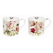 Juego de 2 mugs decorados con flores