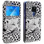 Avizar Capa Tipo Carteira Leopardo Branco para Huawei Mate 20