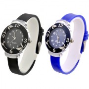 Rjcreation New Glory best selling Black and Blue Watches combo for girls and womens 6 month warranty