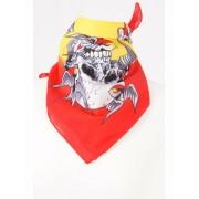 Rood-gele boerenzakdoek/ bandana met doodskoppen