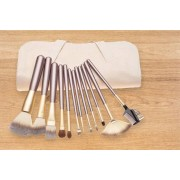 12-Pc Glamza Champagne Colour Makeup Brush Set