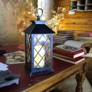 Luci Da Esterno Lanterna nero antico con candela led bianco caldo, h 34 cm, telecomando