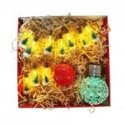 Cutie Cadou Luminos: Ghirlanda Decorativa cu Borcanele cu LED, Bec LED Rosu si Bec Solar cu LED Multicolor