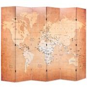 vidaXL Сгъваем параван за стая, 228x170 см, карта на света, жълт