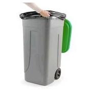 Socepi Bidone pattumiera raccolta indifferenziata da 100 litri con ruote e coperchio di colore verde
