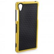 Elegante 3D pared de fibra de carbono de estilo TPU de proteccion trasera para SONY Z2 - Negro + Amarillo