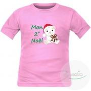 SiMEDIO Tee shirt enfant original : Mon 2˚, 3˚, 4˚... NOËL (à personnaliser !) - Rose 8 ans Courtes