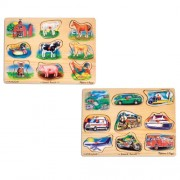 Melissa & Doug Sound Puzzles Set: Farm and Vehicles Wooden Peg Puzzles