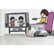 Fotobehang vinyl - Illustratie van een televisie kijkend meisje breedte 560 cm x hoogte 280 cm - Foto print op behang (in 7 formaten beschikbaar)