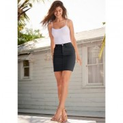 Color Mini Jean Skirt Shorts & Skirts - Black