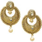 Lucky Jewellery Golden Designer Kundan Stone Partywear Earring