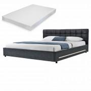 [my.bed] Elegantná manželská posteľ s LED osvetlením - matrac zo studenej HR peny - prešívaná - 140x200cm (Záhlavie: alcantara koženka tmavo sivá / Rám: textil čierna) - s roštom