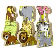 Safari Themed Stacking Chunky Puzzle Set + FREE Melissa & Doug Scratch Art Mini-Pad Bundle [90247]