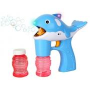 Blue Dolphin Light Up Whale Bubble Gun Blower - 2 Bottles of Solution (NO Music)