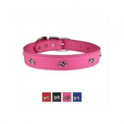 OmniPet Signature Leather Bone Dog Collar, Pink, 22-in