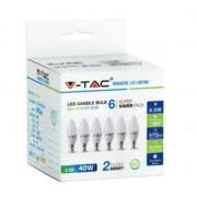 VTAC KIT Super Saver Pack V-TAC VT-2246 6PCS/PACK Lampadine LED candela SMD 5,5W E14 bianco freddo 6400K - SKU 2738