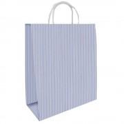 Pungi Cadou Albe cu Dungi Albastre, 24x9.5x29.5 cm, 100 Buc/Bax, Sacose si Plase din Hartie