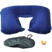 Stargale 3 in 1 Travel Inflatable Air Cushion Eye Mask Ear Plug Neck Pillow(Multi)