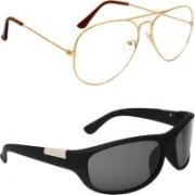 Zyaden Aviator, Wrap-around Sunglasses(Clear, Black)