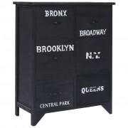 vidaXL Dulap lateral cu 6 sertare, negru, 60x30x75 cm, lemn paulownia