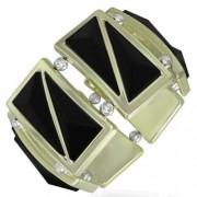 Fekete, háromszög alakú köves, rugalmas divatos karkötő ékszer