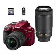 Nikon D3400 Roja Kit Con 2 Lentes + Sd 16gb + Control - Rojo