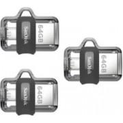SanDisk PACK OF 3 ULTRA DUAL 64 64 GB Pen Drive(Grey)