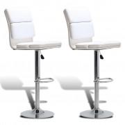 vidaXL Бар столове с високи облегалки, регулируеми, въртящи се, бели - 2 бр