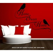 HOME SWEET HOME WITH BIRDS QUOTE WALL ART STICKER VINYL DECAL VARIOUS SIZES - sml 734 x 580mm
