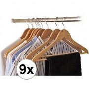 Merkloos 9x Houten kledinghangers